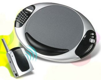 wirelessspeakermousepad small Wireless Speaker Mousepad   music at your fingertips