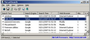 MyLastSearch - freeware scans and finds previous web searches for further use