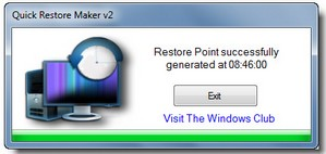 quickrestoremaker small Quick Restore Maker   freeware lets you set restore points instantly