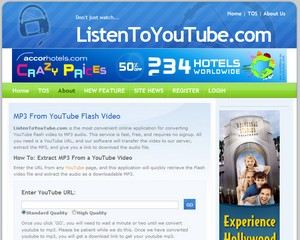 listentoyoutube small Listen to YouTube   free online service lets you grab MP3 audio from any YouTube video