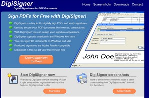 digisigner small DigiSigner   freeware provides digital security signatures for PDF docs