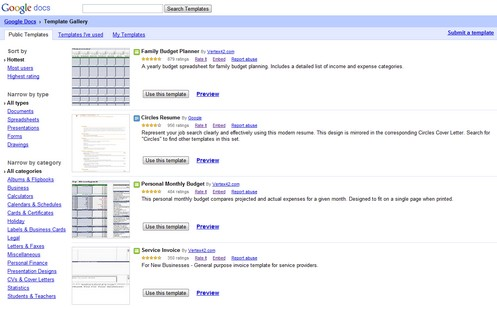 Google Docs Template Gallery - an awesome treasure trove of online useful...