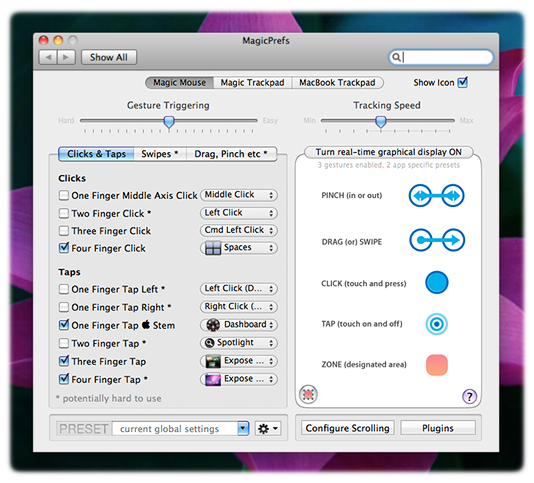 MagicPrefs gives you more control over your multitouch trackpad