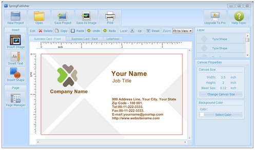 springpublisher small SpringPublisher   freeware lets you design and print business cards, flyers etc