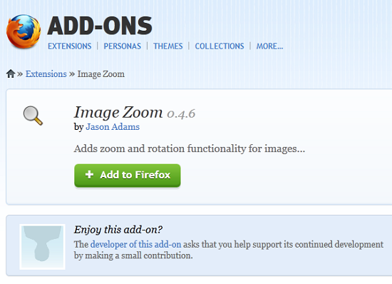 image zoom Use Image Zoom to rotate and zoom images within Firefox