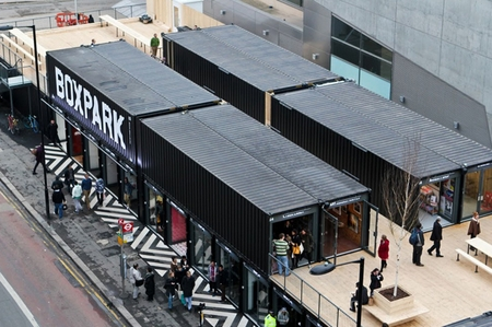 London mall made of recycled shipping containers