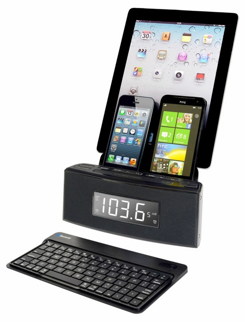 easydokscr19b Easy Doks CR19   the 3 port charger, Bluetooth keyboard and speaker system in one