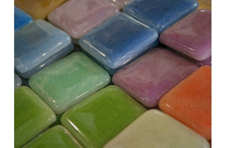 Add to your decor with colorful tiles made from recycled glass