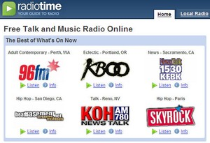 RadioTime - online radio listings and recording