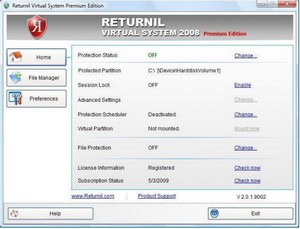 Returnil Virtual System 2008 PE - beat the malware merchants with a virtual partition