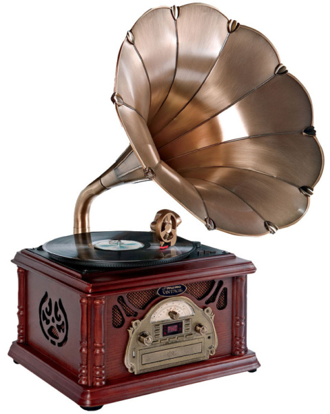 pylevintageturntable Pyle PTCDS3UIP Trumpet Horn Turntable brings a classy touch to vinyl to MP3 conversion