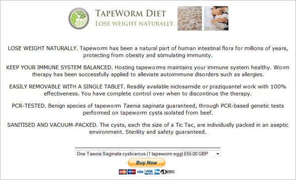 Tapeworm Diet – lose weight fast, at a price
